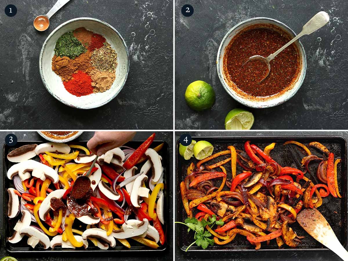 step by step process to making vegetarian fajitas