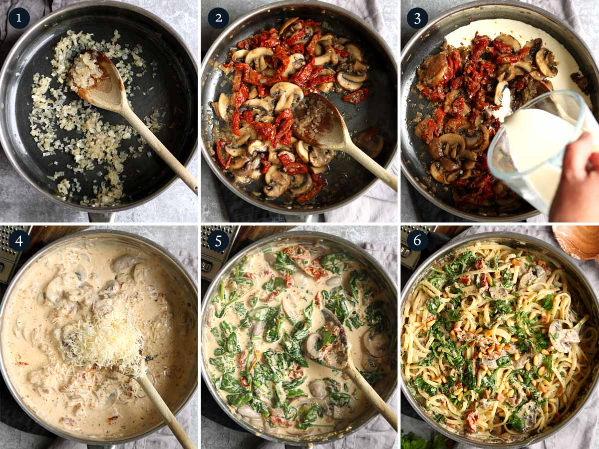 step by step process to making Pasta with Mushrooms Spinach.