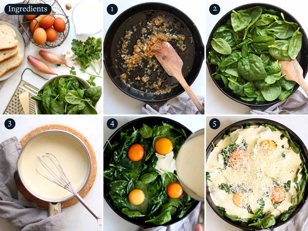 Step by step process to make Baked Eggs Florentine