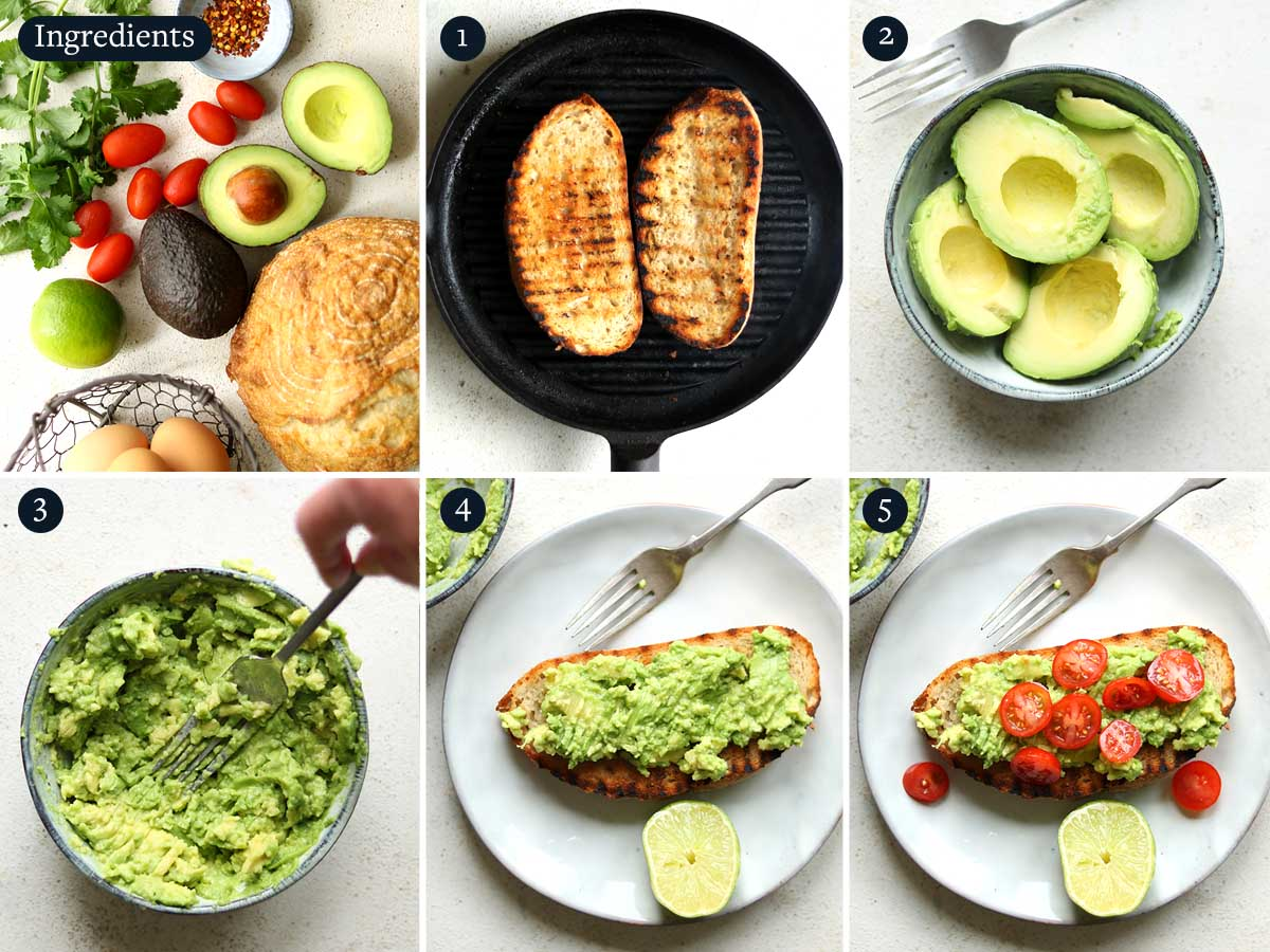 Step by step process to making Avocado on Toast