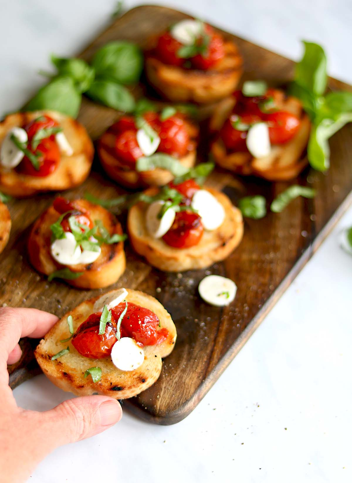 Cherry Tomato with Mozzarella and basil on Bruschetta