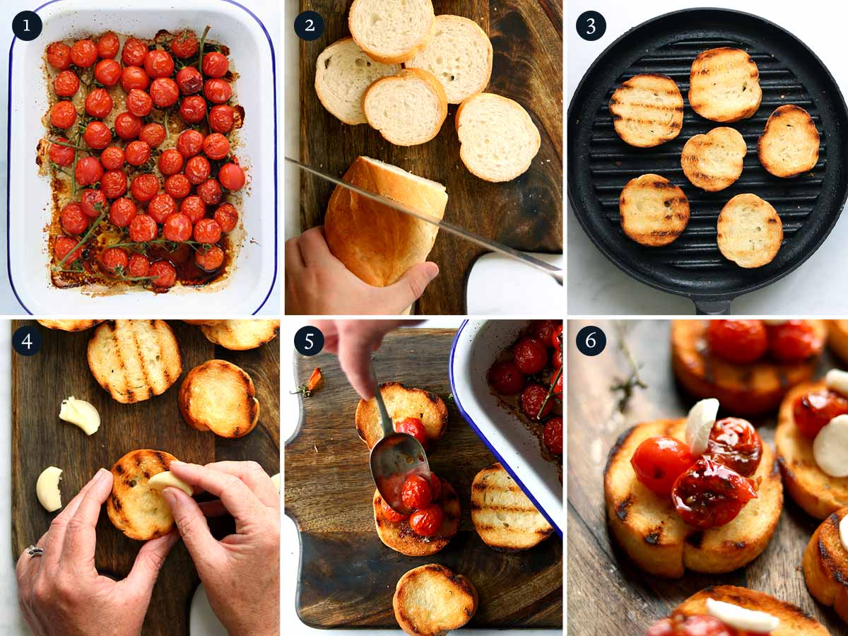 Step by step process for making Cherry Tomato Bruschetta