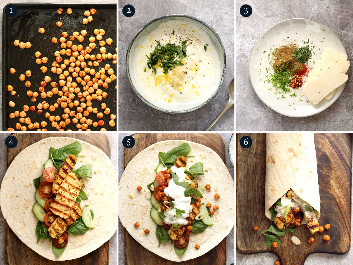 step by step process for making Halloumi Wraps