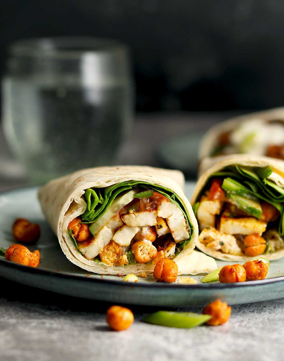 Halloumi Wraps with roasted chickpeas and a minty yoghurt sauce