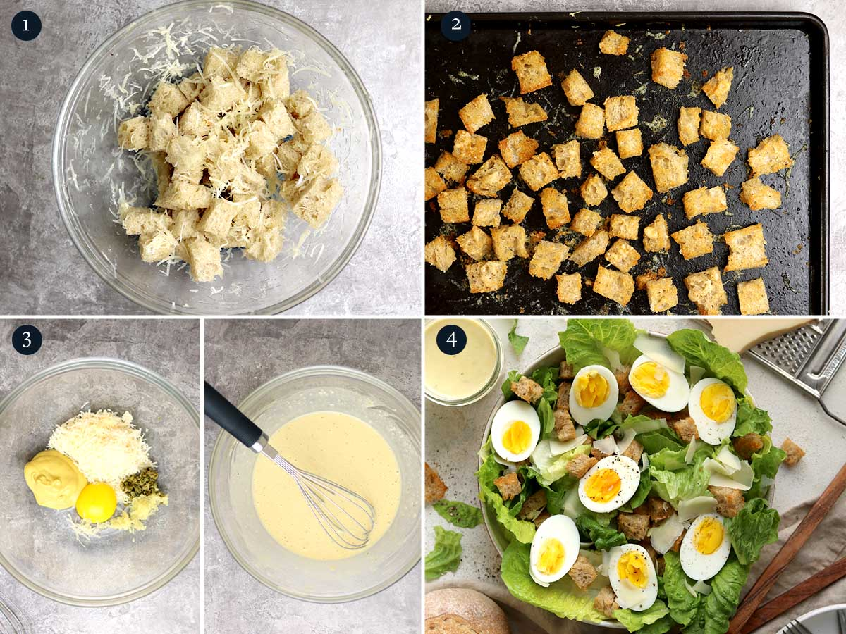 step by step process for making Vegetarian Caesar Salad