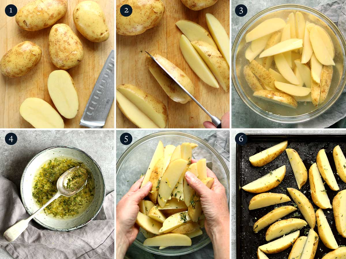 step by step process for making baked potato wedges
