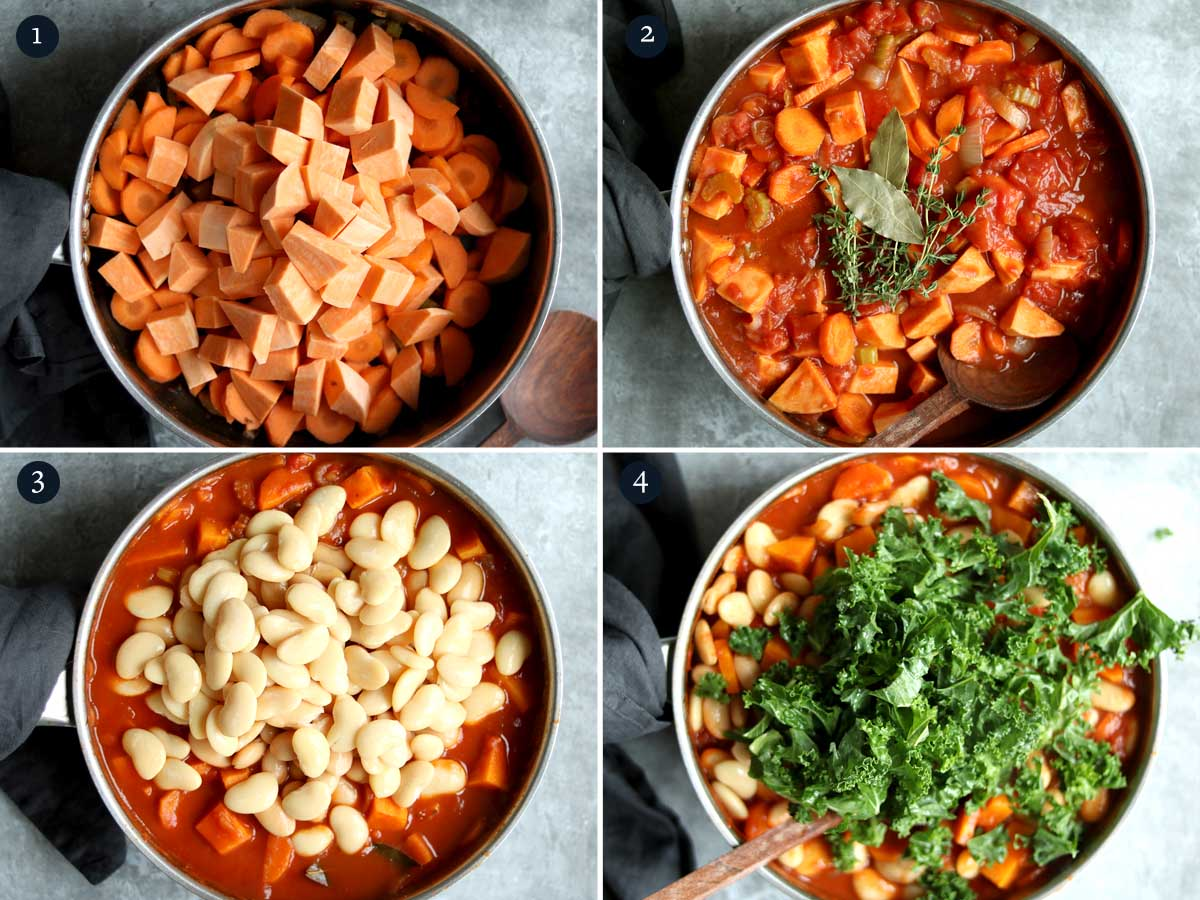 step by step process for making butter bean stew