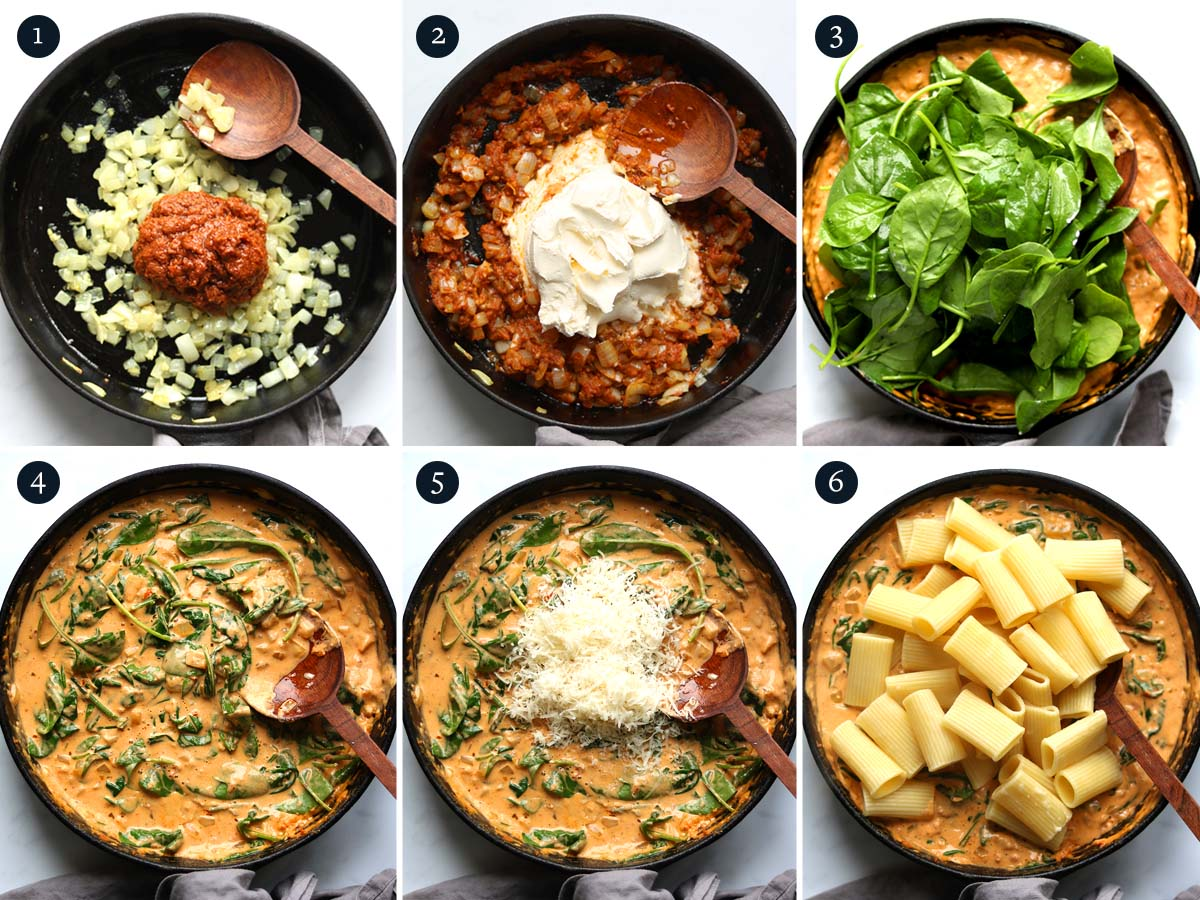 step by step process on how to make Red Pesto Pasta