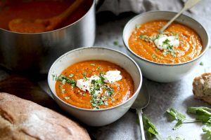 Carrot and lentil soup with crusty bread, Greek Yoghurt and chopped coriander