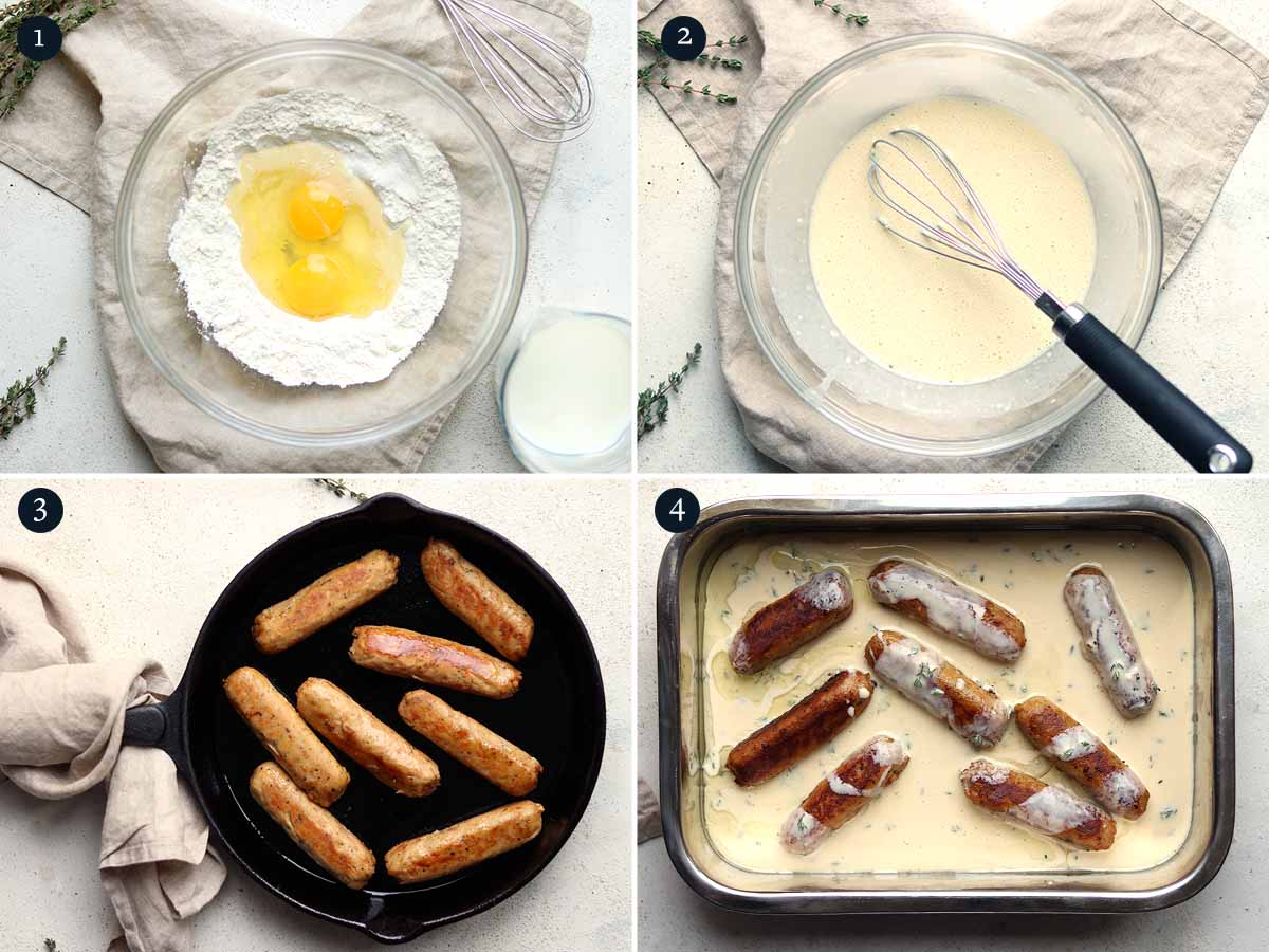 step by step process for making Vegetarian Toad in the Hole
