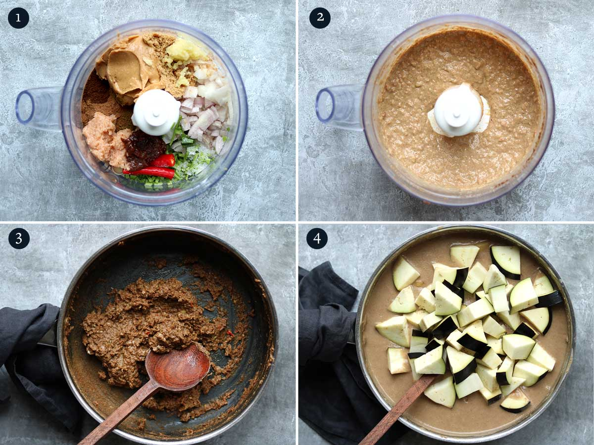 step by step process for making vegan massaman curry