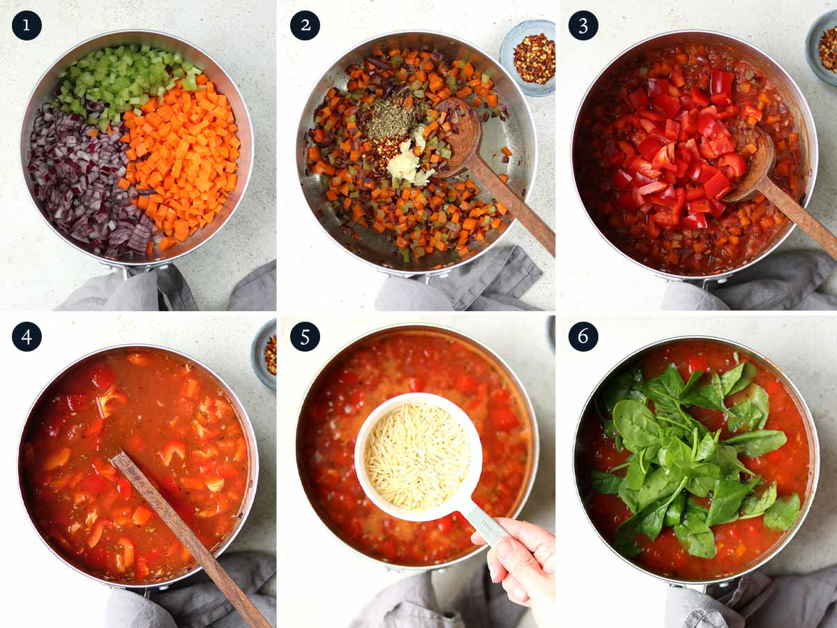 step by step process for making vegetable orzo soup