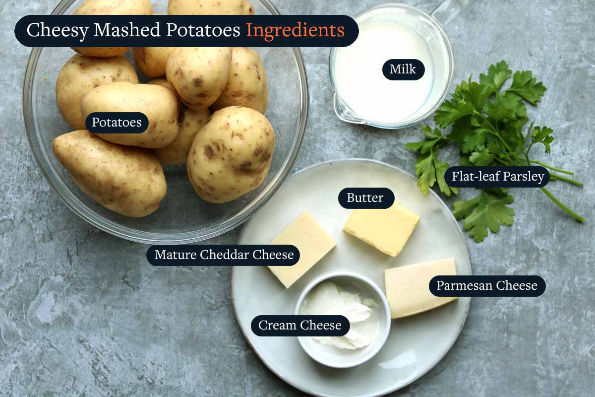 Ingredients for making Cheesy Mashed Potatoes