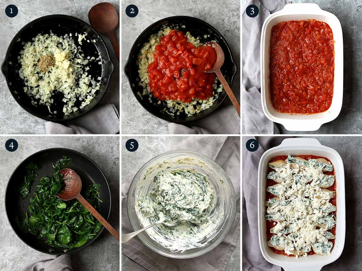 Step by step process on how to make Stuffed Pasta Shells