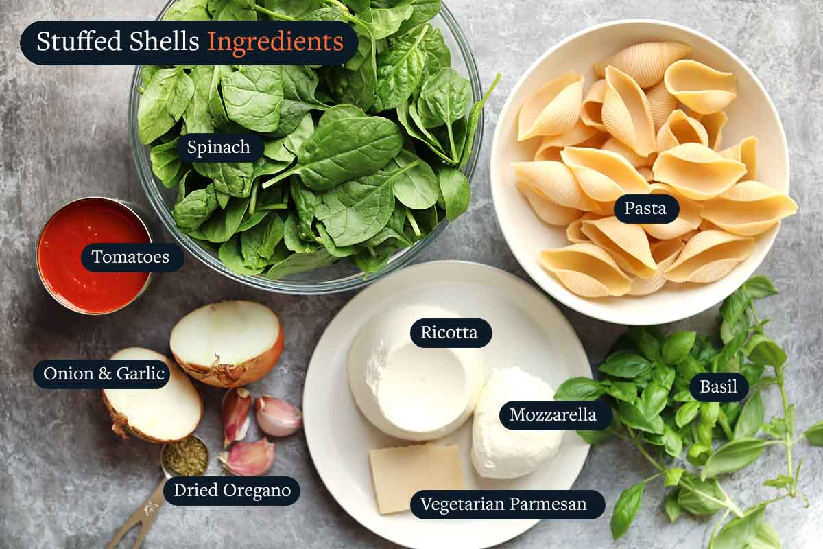 Ingredients for making stuffed shell pasta