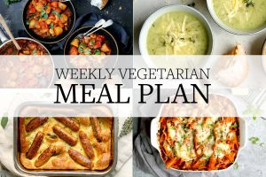 Weekly Vegetarian meal plan, showing different weekly meals