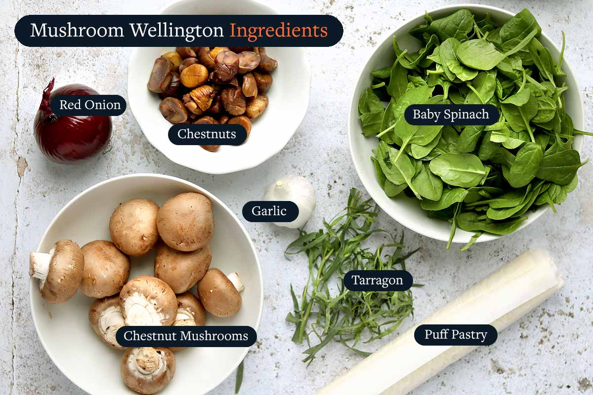 Ingredients for making Mushroom Wellington