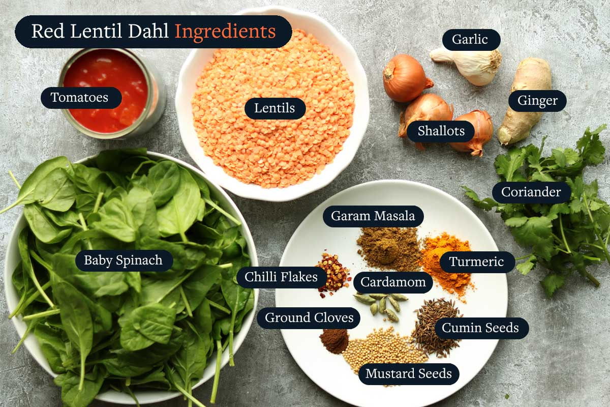 The raw ingredients for making Red Lentil Dahl with Spinach