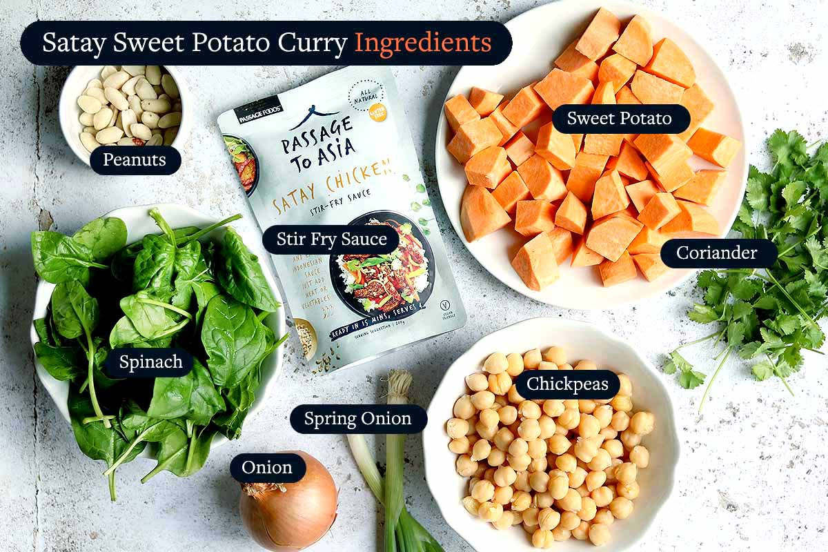 Satay Sweet Potato Curry Ingredients