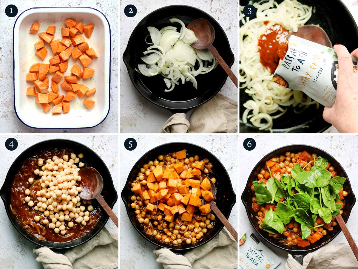 Step by step process for making Satay Sweet Potato Curry