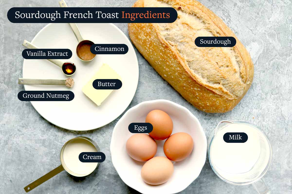 Ingredients for making Sourdough French Toast