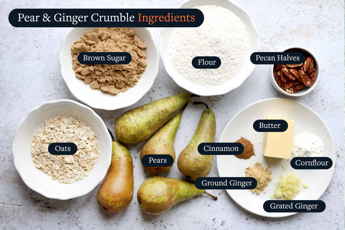 Ingredients for making Pear and ginger crumble