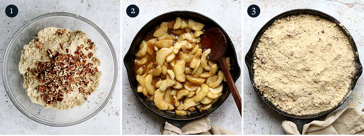 Step by step process for making Pear and Ginger Crumble