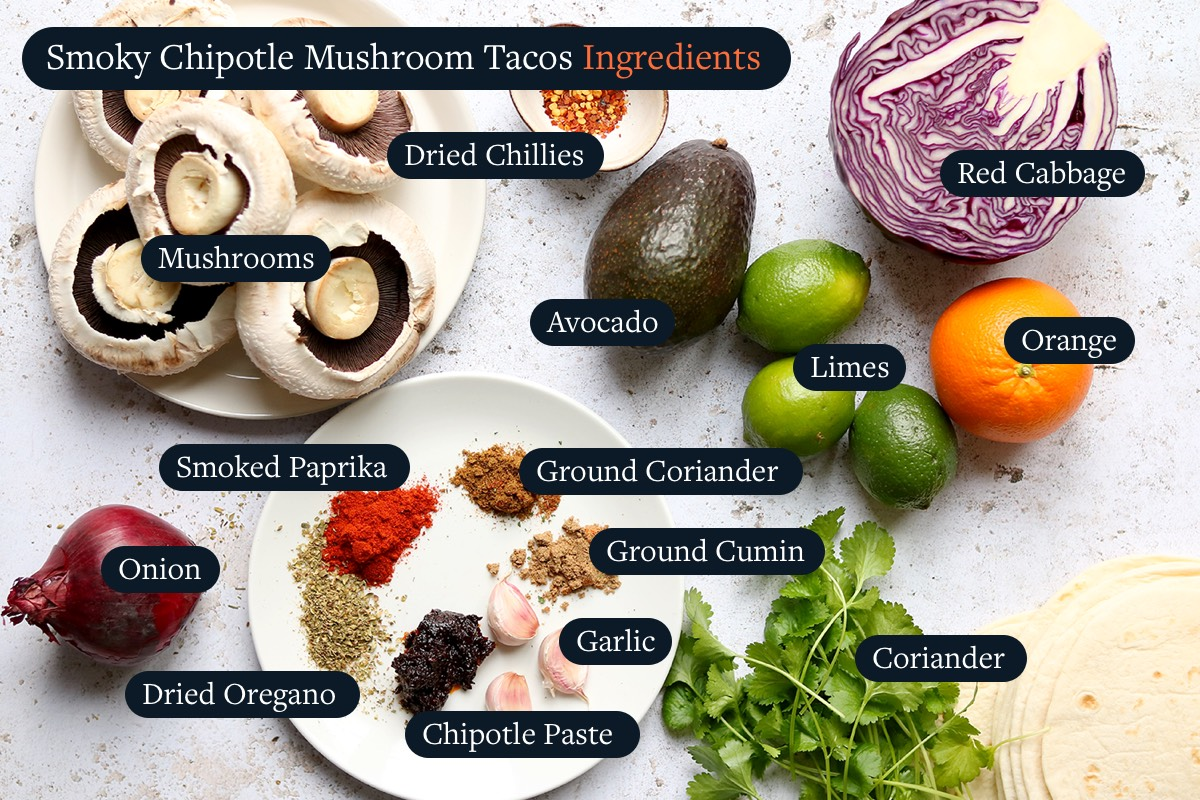 Ingredients for making Smoky Chipotle Tacos