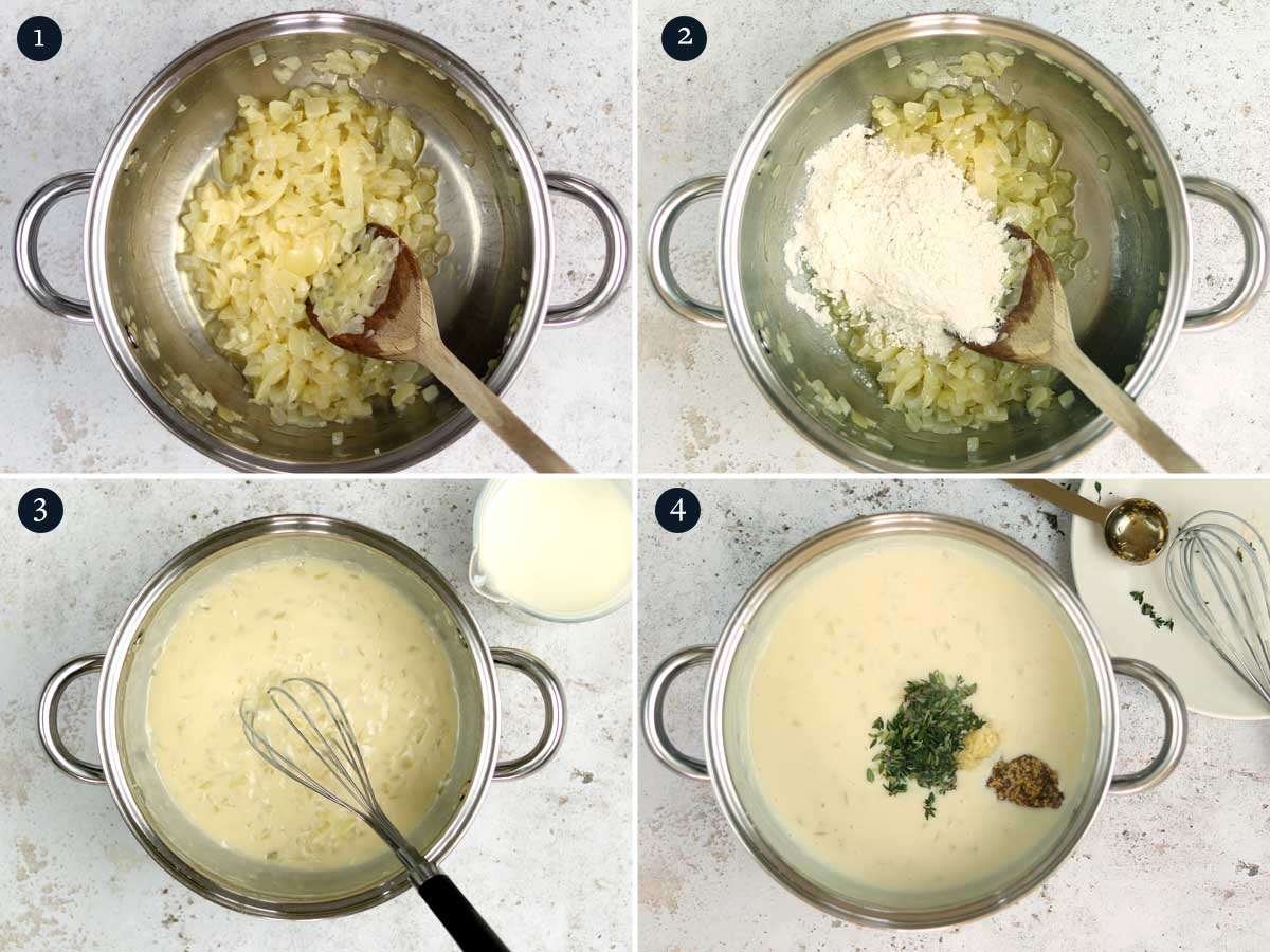 Step by step process (1-4) for making Broccoli Pasta Bake