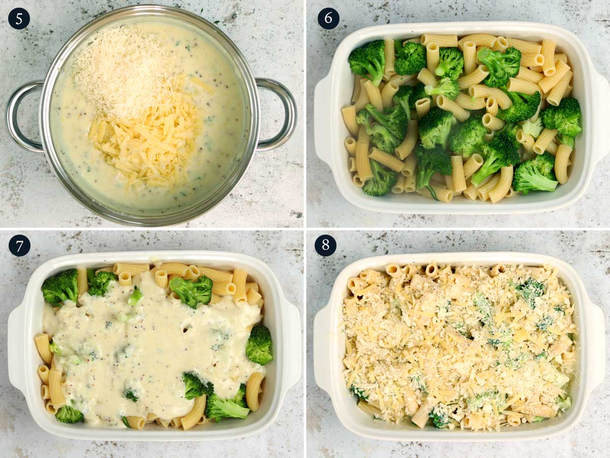 Step by step process (5-8) for making Broccoli Pasta Bake