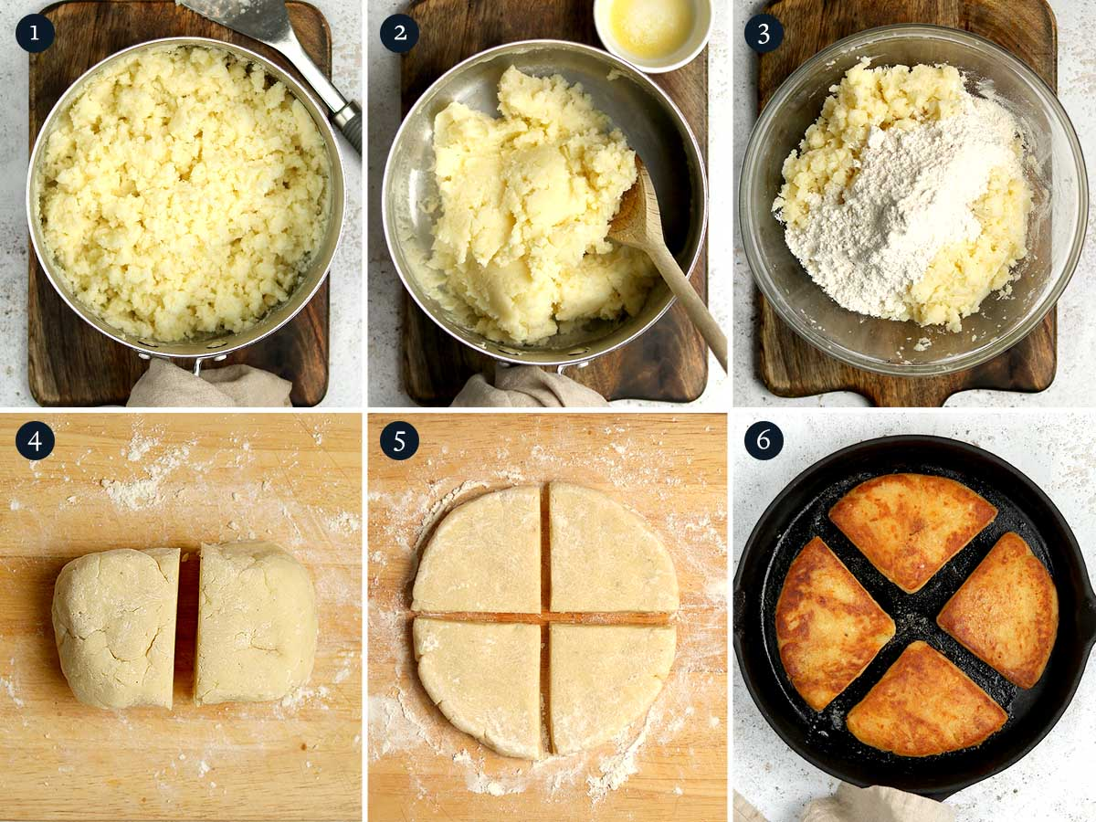Step by step process for making Potato Farls