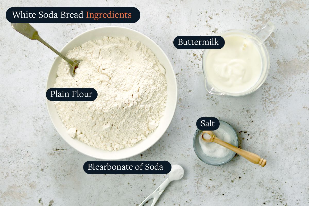 Ingredients list for making White Soda Bread