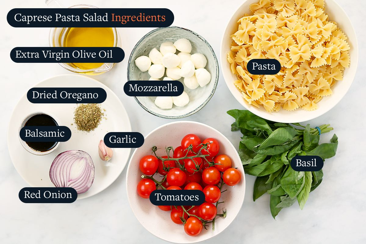 Ingredients for making Caprese Pasta Salad