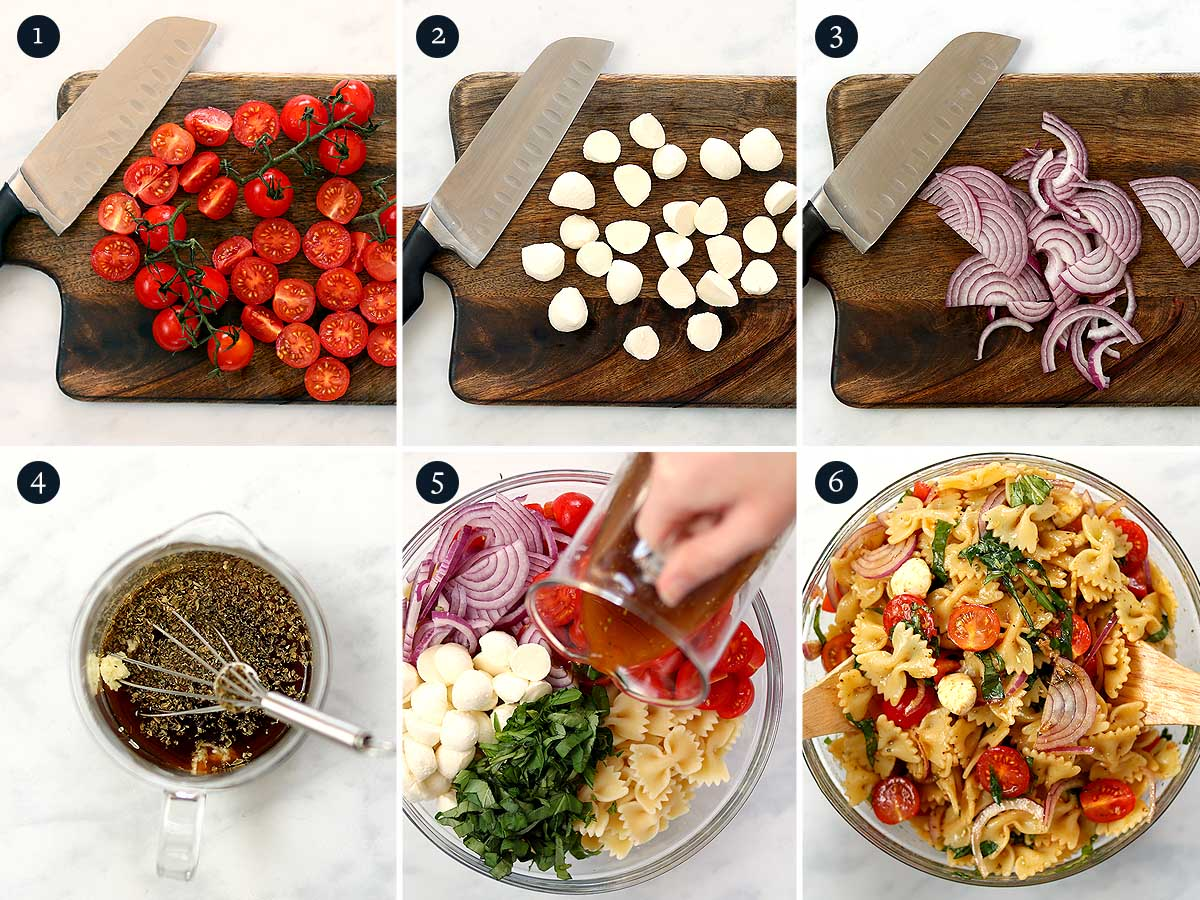 Step by step process for making Caprese Pasta Salad