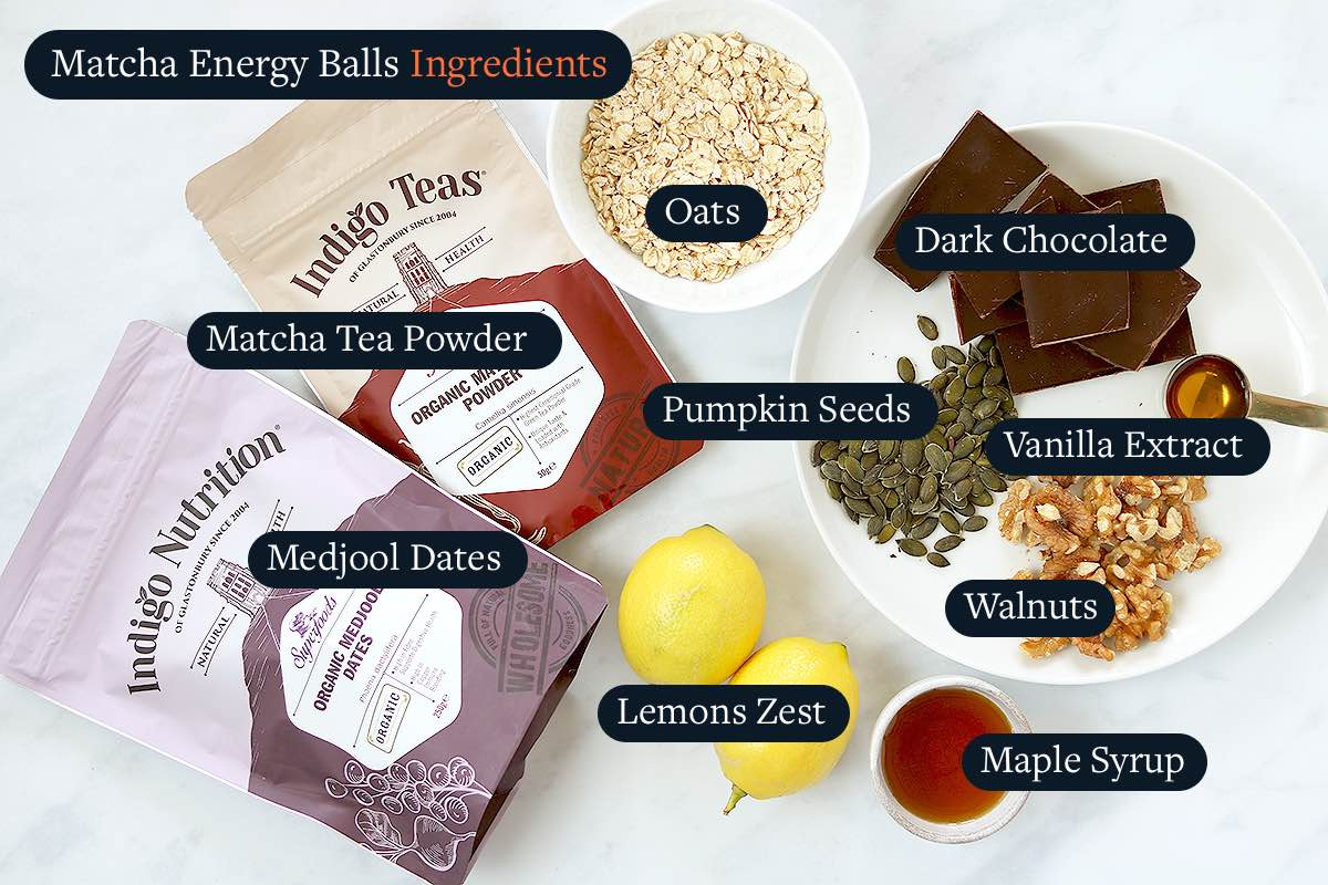Ingredients required for making Matcha Energy Balls