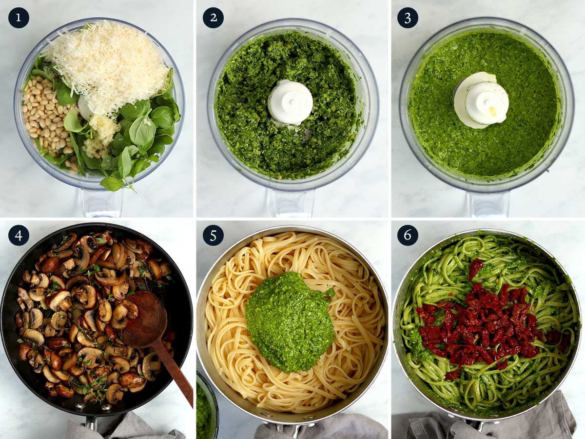 Step by step process for making Mushroom Pesto Pasta