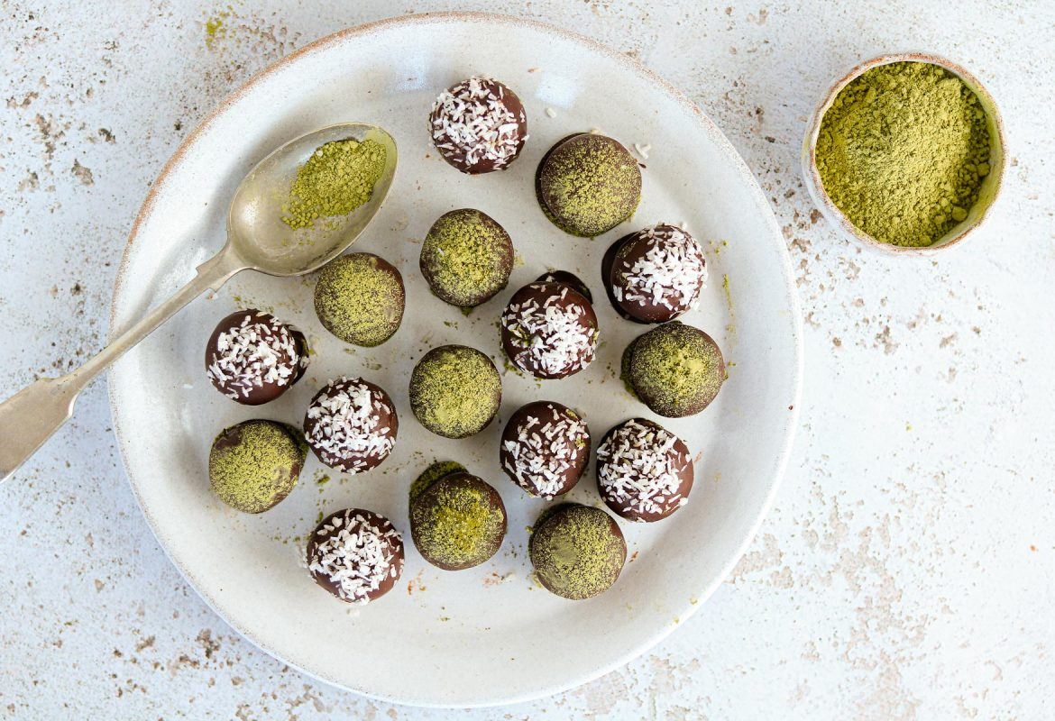 Matcha energy balls on a plate