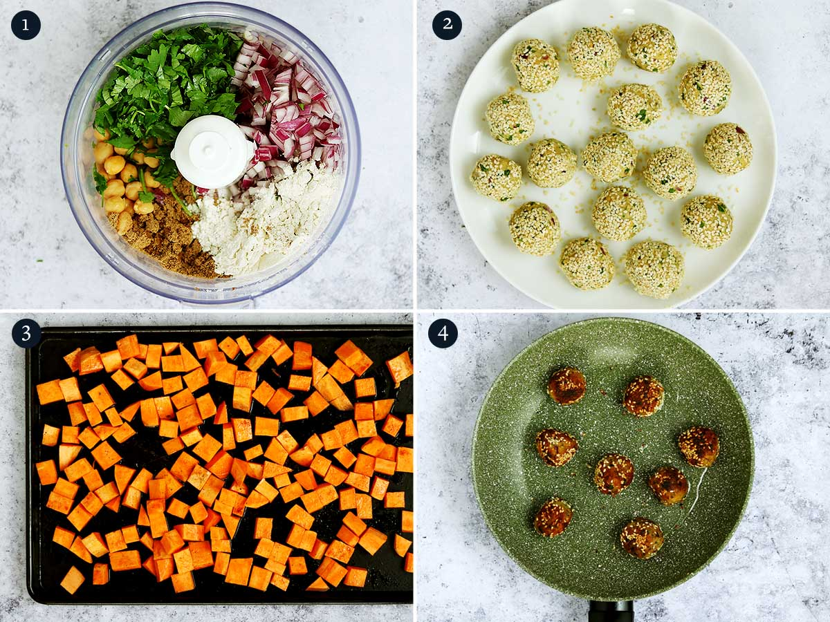 Step by step process for making Falafel Balls