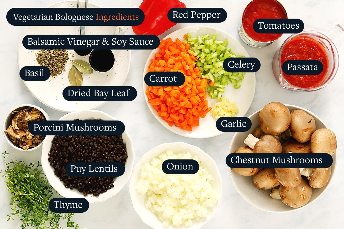 Ingredients for Vegetarian Bolognese