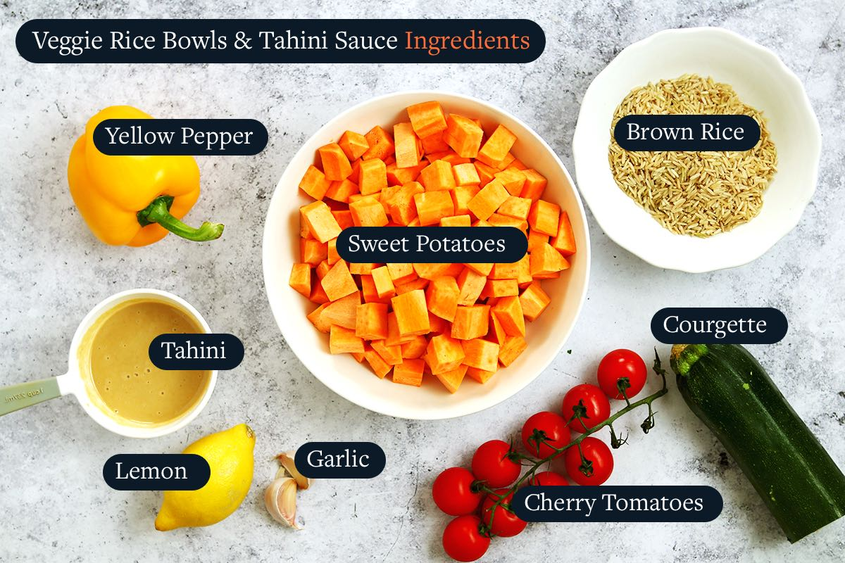 Ingredients list to make Veggie Bowls