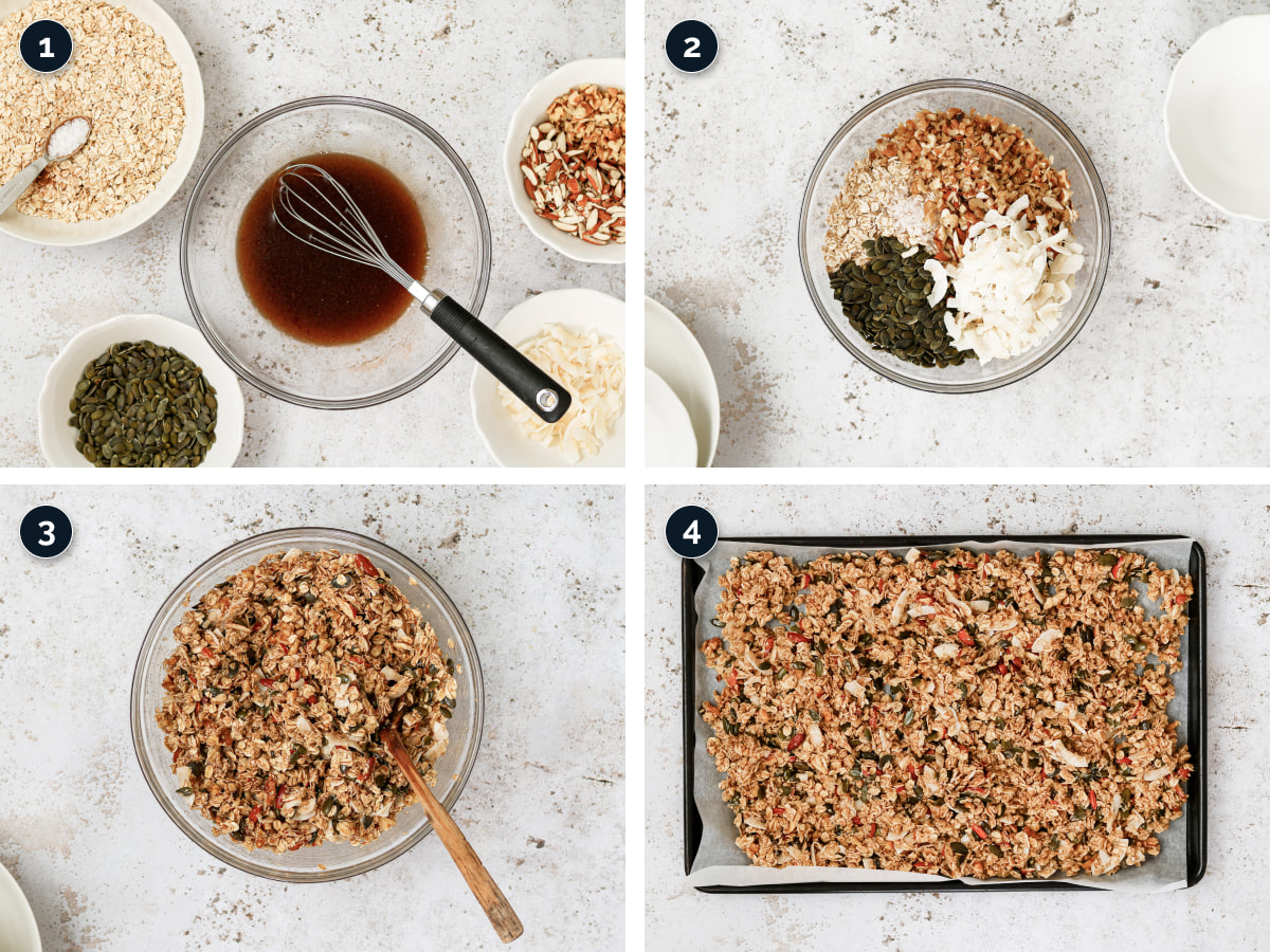 Step by step process for making Crunchy Granola