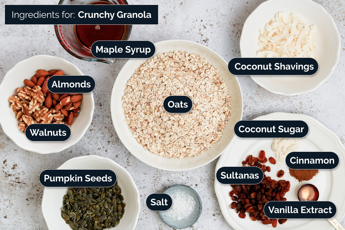 Ingredients required to make Crunchy Granola