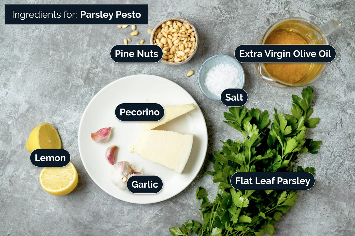 Ingredients for making Parsley Pesto