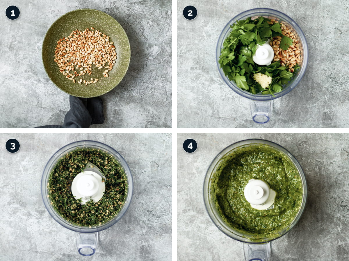 Step by step process for making parsley Pesto