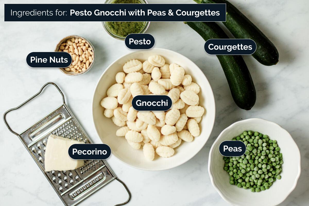 Ingredients for making pesto gnocchi