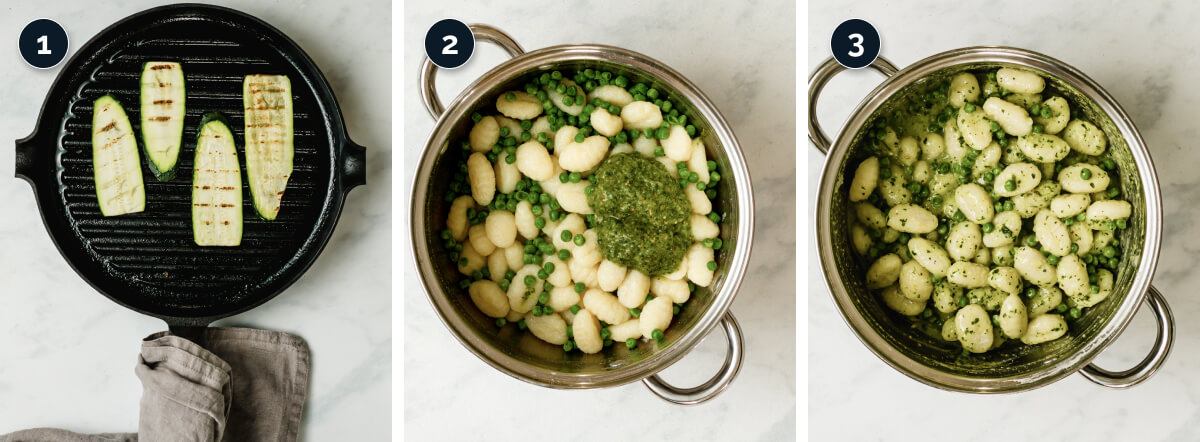 Step by step process for making pesto gnocchi