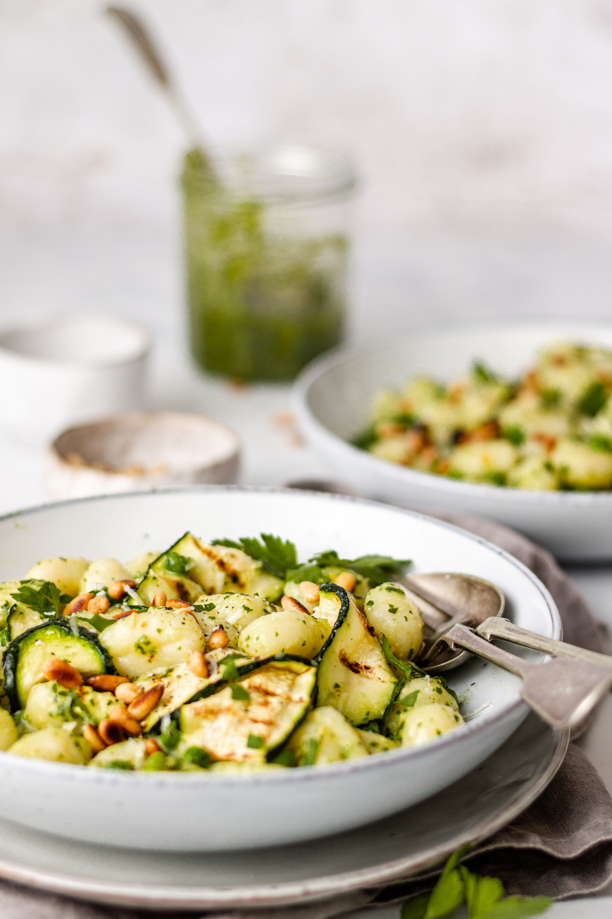 Side view of gnocchi in bowl