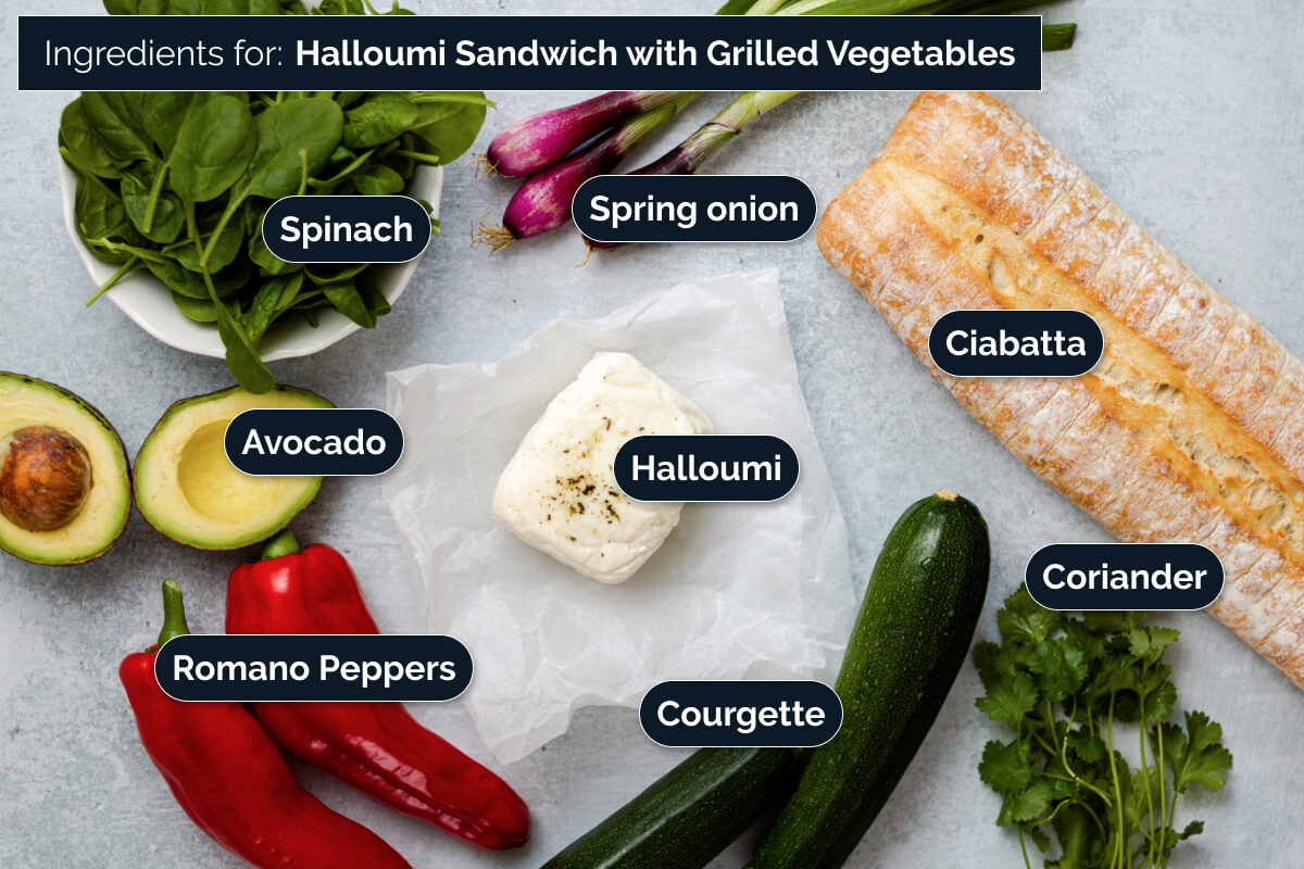 Ingredients for making Halloumi Sandwich