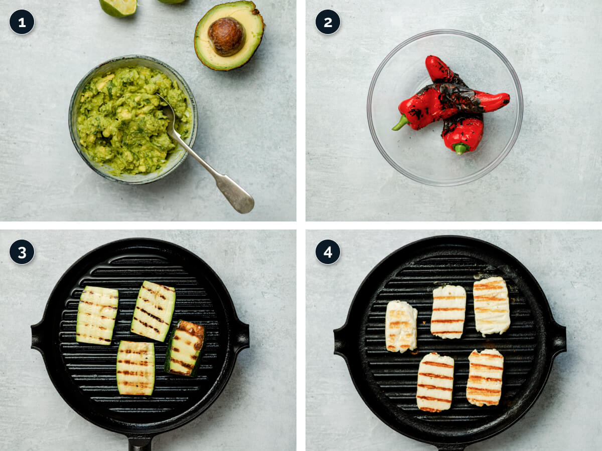Step by step process for making Halloumi Sandwich