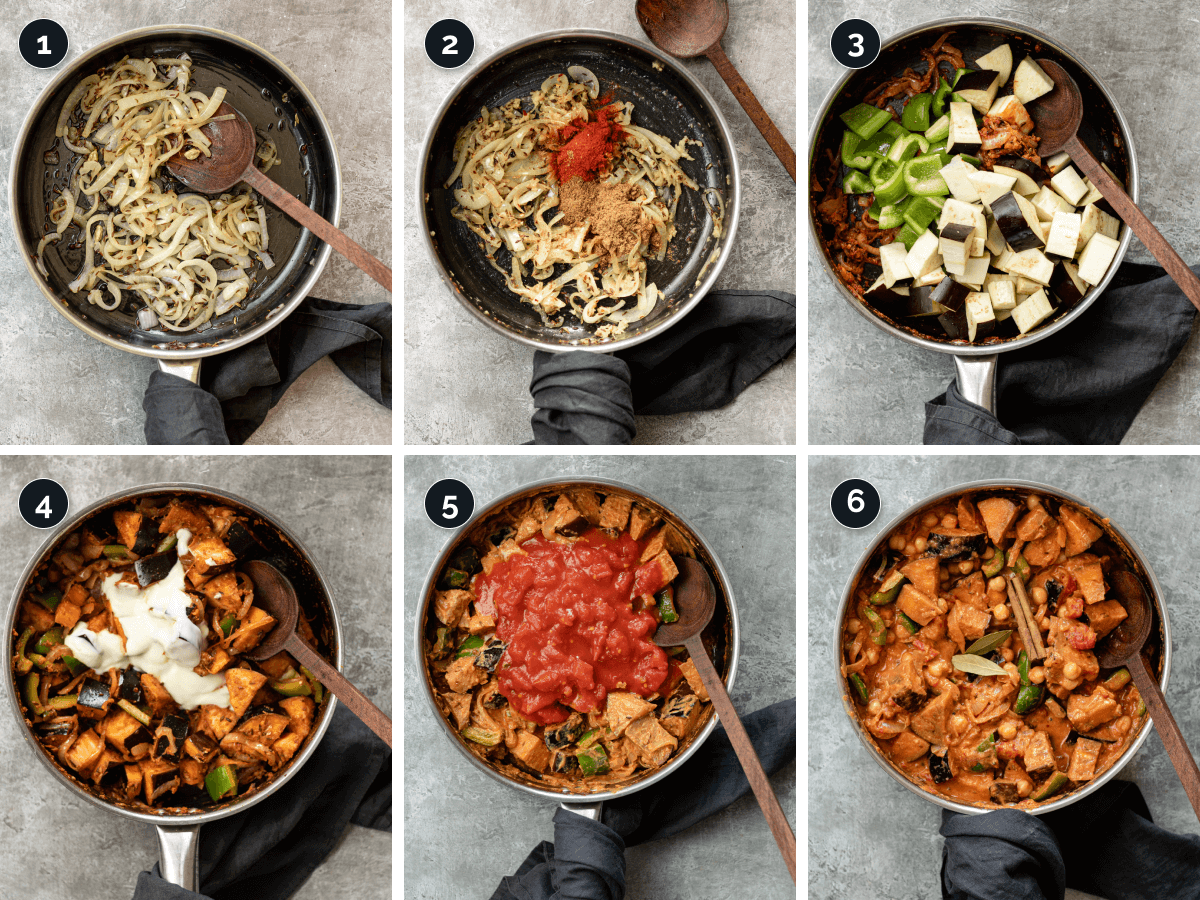 Step by step process for making Vegetable Rogan Josh